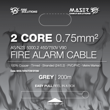 2 Core, 0.75mm², Tinned Copper, Fire Alarm Cable, Grey, 200M Box (B2C0.75FACTCW/GY200)