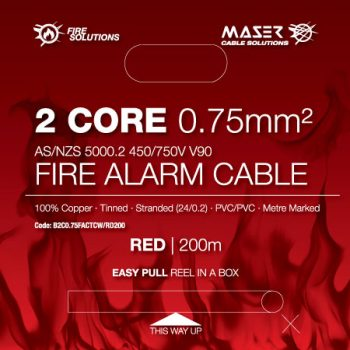 2 Core, 0.75mm², Tinned Copper, Fire Alarm Cable, Red, 200M Box (B2C0.75FACTCW/RD200)