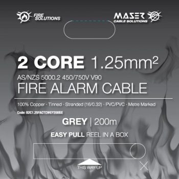 2 Core, 1.25mm², Tinned Copper, Fire Alarm Cable, Grey, 200M Box (B2C1.25FACTCWGY200BX)