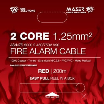 2 Core, 1.25mm², Tinned Copper, Fire Alarm Cable, Red, 200M Box (B2C1.25FACTCWRD200BX)