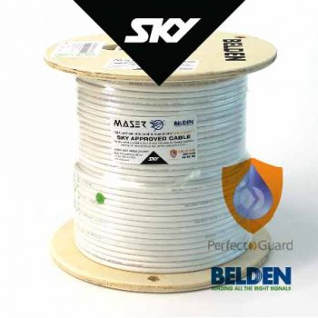 RG6, Sky Approved, White, 152m, 75 Ohm, Satellite / Antenna Coaxial Cable (B1829AC-9-152P)
